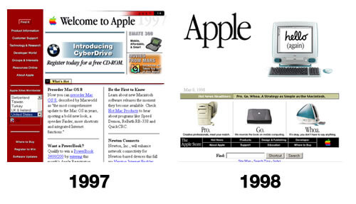 Apple Website Design 1997-1998