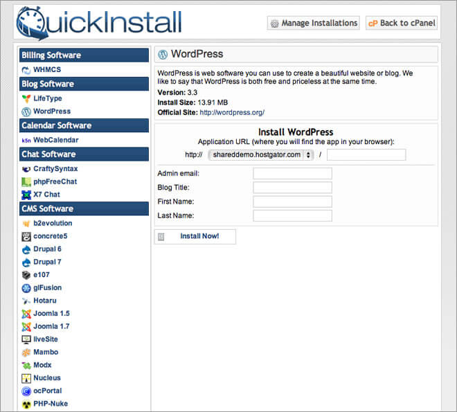 hostgator quickinstall
