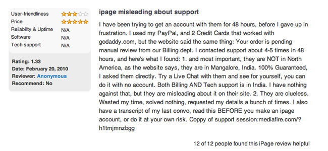 ipage complaint