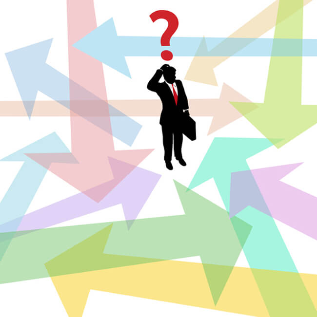 Confused lost business man question arrows decision