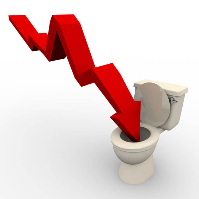 Arrow Plunging Down into the Toilet