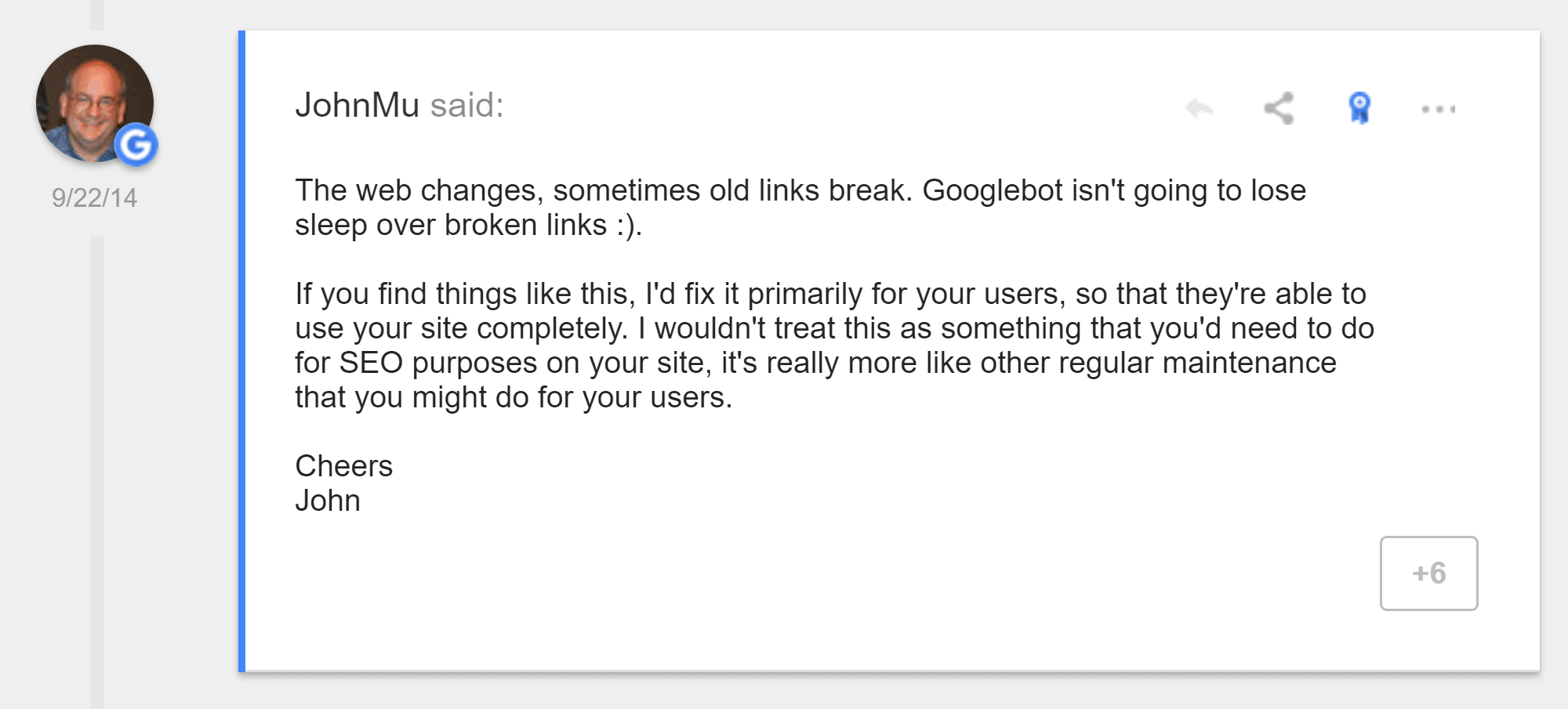 Google on Broken Links