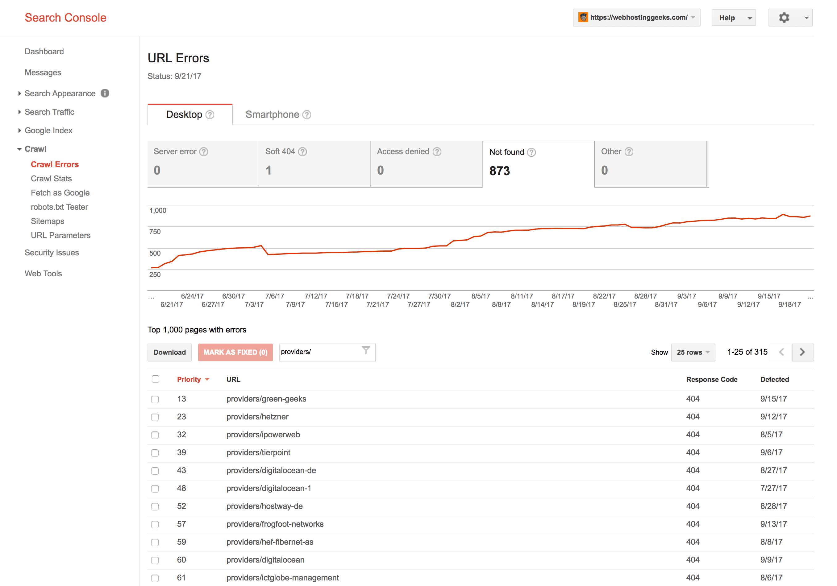 Find broken links with Google Search Console